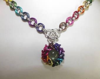 Caged Globe Chainmaille Pendant  and Necklace
