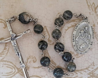 One Decade Rosary, Saint Christopher, Large Crucifix, Patron Saint of Travelers, Spiderweb Jasper, Stainless Steel, Tenner, Pocket Rosary