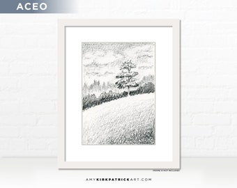 Hillside Landscape Pencil Drawing, Original ACEO Drawing, Tree Drawing, Landscape Miniature Drawing, ACEO ATC Ooak Original, Hillside