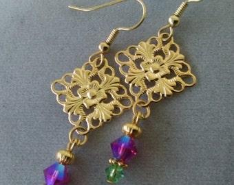 Fuschia and Peridot Swarovski Crystal Drop Earrings