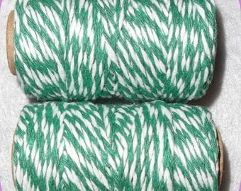 Butchers Bakers TWINE Green White St Patrick's Day Cotton, Candy Wrap, Soap Wrap, Gift Wrap 50 Yd