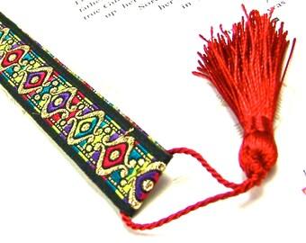 Arabesque Bookmark - Arabian Motif Repetitive Patterned Ribbon Jacquard  with Red Tassel