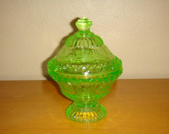 Vintage Green Depression Glass Covered Dish