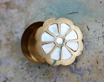 Snuff Box or Pill Box - Mother of Pearl Flower Inlay on Brass