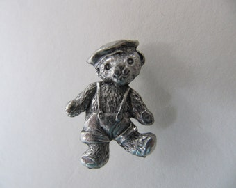 Vintage scatter pin, pewter tone metal teddy bear lapel pin, tiny sailor teddy brooch, double pin collar pin brooch, teddy jewelry jewellery