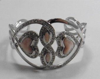Fashion Silver Tone Crystals Heart Bracelet p1220029