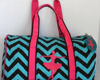 Ballet Dance Bag Chevron Design with Zipper Pull Embroidered Ballerina Tote