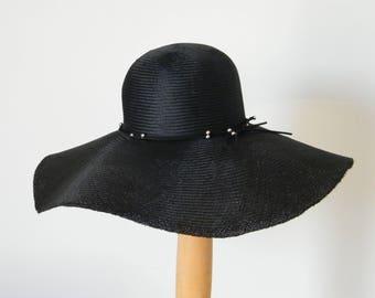 black sun hat / wide brim sun hat / elegant summer hat / made in Israel