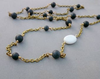 Black Agate Necklace - Black and White Necklace with Matt Black Agate, Porcelain and Brass