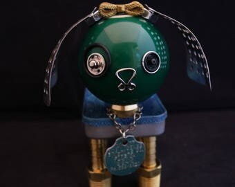 Greenie Pup Bot - found object robot sculpture assemblage by Cheri Kudja with Bitti Bots