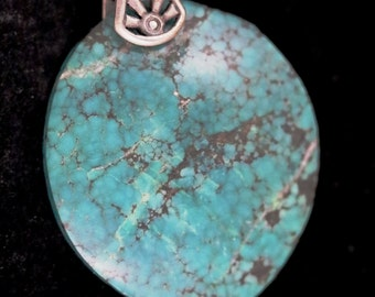 Vintage Turquoise silver sunrays bail 56ct