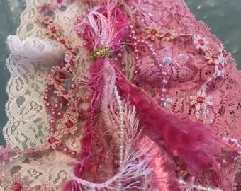 Lace Combo Embellishments #4, Pink, DIY, Journals, Scrapbooks, Trims
