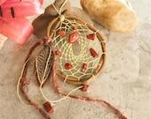 RESERVED Small Dream Catcher , hand woven pale green silk , red jasper , natural dreamcatcher , talisman
