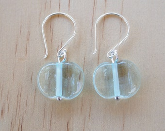Recycled Glass Earrings. Glass Beads made from a wine bottle