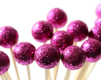 Magenta Drink Stirrers, Party Decor, Spring Wedding, Disco Party, Glitter Party, Dinner Party