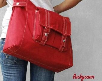 20% Easter On Sale CARSON // Dark Red / Lined with Beige / 033 // Ship in 3 days // Messenger / Diaper bag / Shoulder bag / Tote bag / Purse