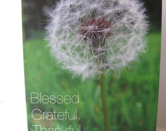 Dandelion FullSize Greeting Card Blessed, Grateful,Thankful