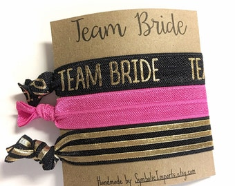 Team Bride Hair Ties, Bachelorette Party Favors, Team Bride Elastic Hair Ties, Wedding Party, Bridesmaid Gifts, Bachelorette Survival Kit