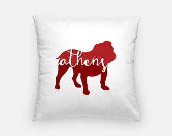 Athens GA pillow | Athens Georgia decor | Bulldog pillow | Georgia home decor | Athens home decor | Athens pillow | hand lettered pillow