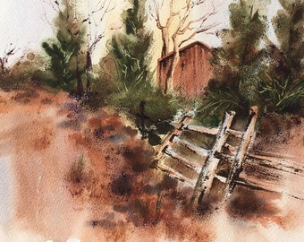 Rustic Barn Watercolor Print, Fall Colors, Green and Brown, Landscape, Country Scene, Home Decor, Painting