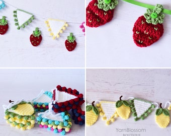 CROCHET PATTERNS - Summer Banners - by Yarn Blossom Boutique, Instant Download PDF, Lemon Garland, Strawberry Banner, Bunting, crochet fruit