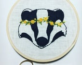 COMMISSION RESERVED for KATE - Hufflepuff Badger with Flower Crown - Hand Embroidered Hogwarts House Pride