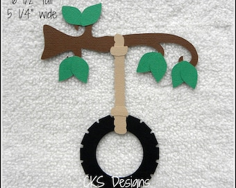 Die Cut Tire Tree Swing Scrapbook Page Embellishments for Card Making Scrapbook or Paper Crafts