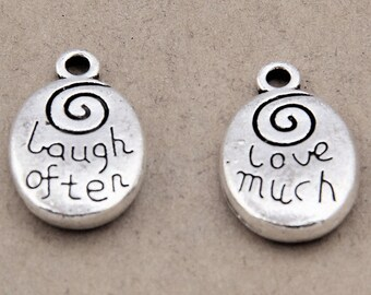 6pcs-Laugh often love much charm, antique silver tone oval Charm