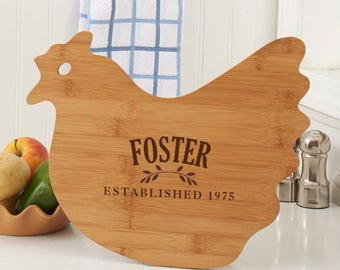 Engraved Family Established Hen Cutting Board, carving board, engraved, kitchen decor, family name, personalized -gfyL11118190Hen
