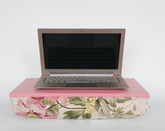 Romantic peony lapdesk with pillow, Laptop stand- caramel pink with peony pattern pillow