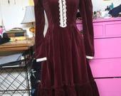 1970s Red Velvet Gunne Sax Prairie Dress- size S/M