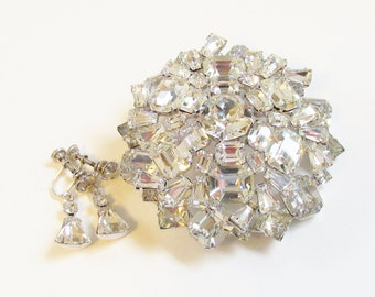 Vintage Large Clear Rhinestone Brooch Earrings