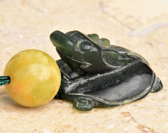 Antique Little Green Jade Turtle Dragon Pendant Necklace with Antique Jade Beads by NeoWare