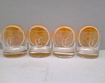 Vintage C monogrammed juice glasses - etched C glassware - mid century barware - monogrammed glasses - etched glasses - C rock glasses