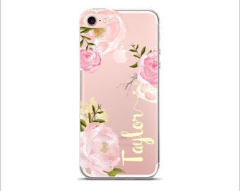 Personalized Clear transparent case iPhone 7 Plus iPhone 7 iPhone 6/6S iPhone 6 Plus iPhone 5/5S iPhone SE Romantic Roses Pales yellow