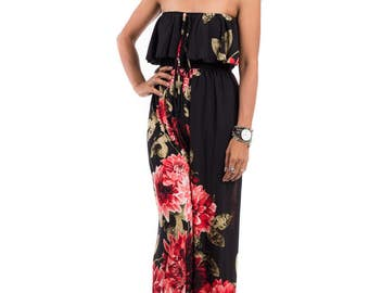 Womens Jumpsuit, Halter top jumpsuit, Sleeveless jumper, floral jumpsuit, ruffle jumper : Chic & Casual Collection