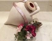 Vintage Metallic Pink Silver Rayon Tinsel Ribbon, Vintage Craft Supplies, Vintage Gift Wrap Ribbon, Vintage Millinery Ribbon
