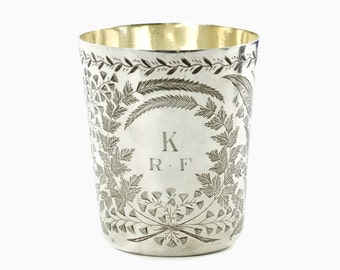 Antique Victorian 19th Century Engraved English Sterling Silver Beaker Circa 1887 Edwin Charles Purdie