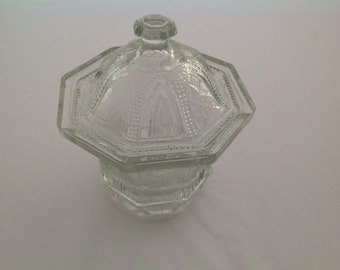 Cut Glass Lidded Candy Dish, Vintage Candy Dish, Lidded Dish