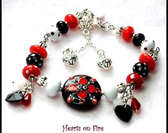 Bracelet, Red Black and White Bracelet,Lampwork Bracelet,Colorful Bracelet,Valentine, Romance,FolkArtBracelet - HEARTS ON FIRE -
