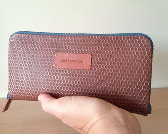 Large leather wallet -soft tan leather functional wallet with engraving -gift for mom- gift for her-Christmas gift-zipped wallet