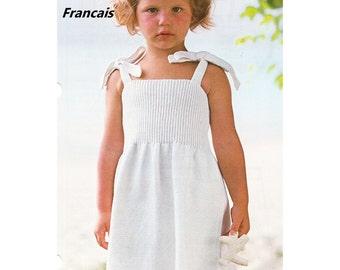 Télécharger PDF French Language Knitting Pattern Modele Patron Tricot Francais Petite Fille Robe d'été à Bretelles 3 Tailles pour 2 au 6 ans