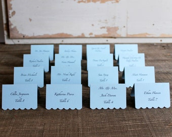 blue printed place cards for wedding, shower, party set of 100 - delaney