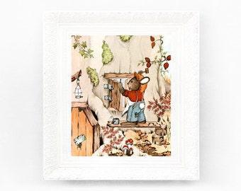 5x7 DIY Bunny Vintage Nursery Print Fairytale Illustration Babys Bedroom Framing Original Book Plate Woodland Animal Retro Rabbit Work HH25