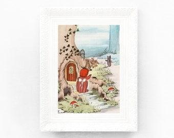 7x10 Hedgehog Vintage Nursery Print Fairytale Illustration Babys Bedroom Framing Original Book Plate Woodland Animal Retro Bedroom HH25