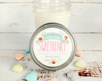 Sweetheart Soy Wax Candle in 8 oz. Jelly Jar - Pink Sugar, Cotton Candy, Sweetheart, Valentines, Galentines, House, Home, Hostess Gift