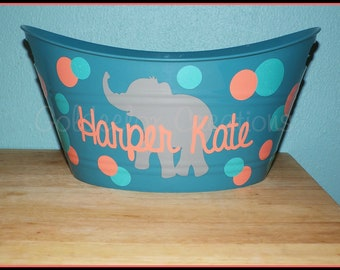 Personalized  Bucket-Custom Baby Basket-Monogrammed Bucket-Baby Bucket-Baby Shower Bucket-Kids Bucket-Custom Bucket