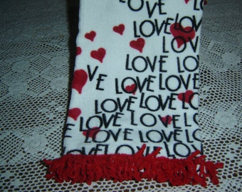 Love towel, Valentine hand dish towel, white velour w/red hearts, word LOVE black letters, red chenille loop fringe, mom gift, hearts towel