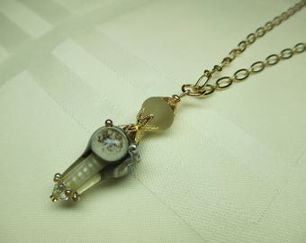 Taupe Lampwork Bead Pendant Necklace