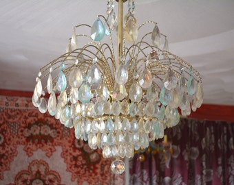 "Chandelier Lighting, Crystal Wedding Cake, 23""l. x 22""w., One of a Kind"